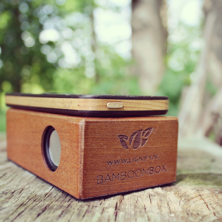 Houten inductie speaker BamBoomBox casual