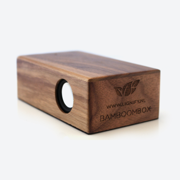 Houten inductie speaker BamBoomBox dark