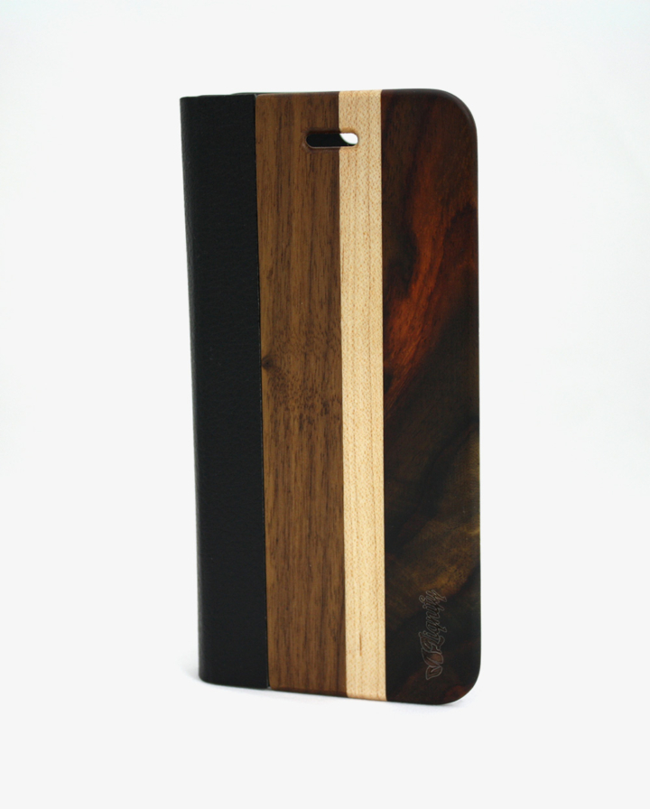 Houten iPhone 6 flipcase dark
